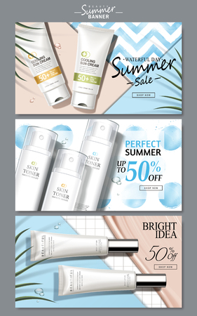 cream and light blue colored cosmetic theme web banners with product pictures, 3d illustration Vectores