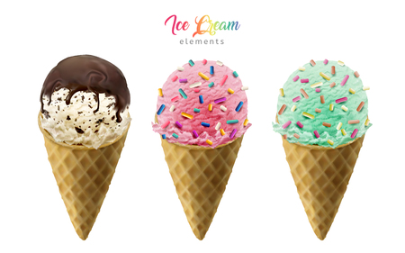 cornet: Colorful ice cream cones elements with chocolate sauce and rainbow jimmies for design uses isolated on white background in 3d illustration Illustration