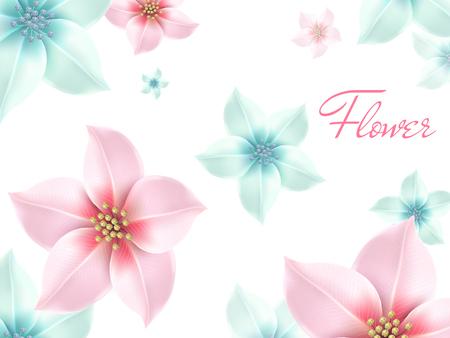 多くピンクとライトブルーのロマンチックな花、白い背景の 3 d 図  イラスト・ベクター素材