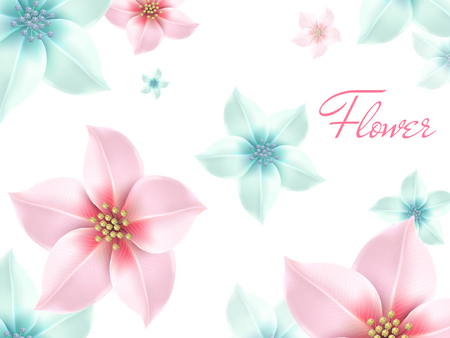 many pink and light blue romantic flowers, white background 3d illustration