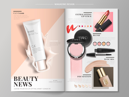 cosmetic brochure with products like mascara, foundation case and lipstick, 3d illustration