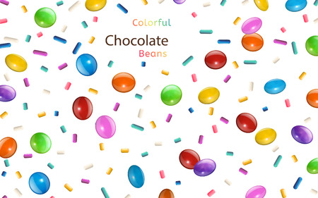 Colorful chocolate beans and rainbow jimmies scattering in the air, 3d illustration background isolated on white background