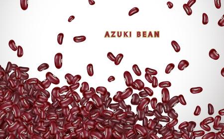 아즈 누 콩 배경, 3d 일러스트에서 흰색 배경에 현실적인 붉은 콩 확산