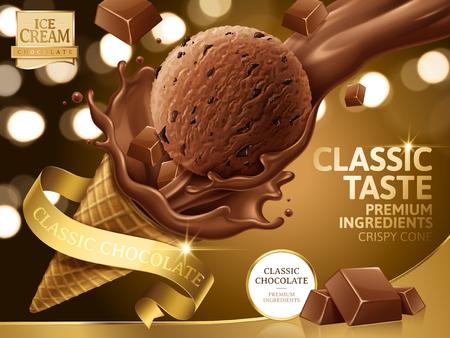 초콜릿 아이스크림 콘 광고, 골든 리본와 3D 일러스트에서 bokeh 배경에 고립 된 레이블 초콜릿 토 핑 쏟아져