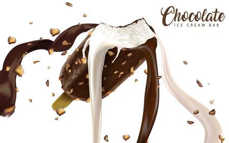 Chocolate ice cream bar ads, ice bar with creamy flowing chocolate and milk liquid with nuts isolated on white background in 3d illustration