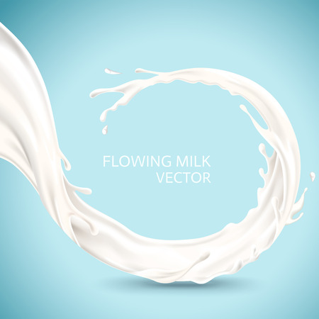 Flowing milk element, isolated on blue background in 3d illustration