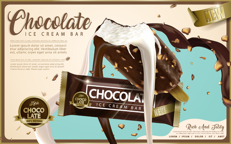 Chocolate ice cream bar ads, crunchy ice bar with premium chocolate and milk sauce pouring down and flying nuts isolated on flat style background in 3d illustration
