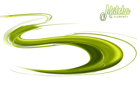 Flowing matcha sauce for design uses isolated on white background in 3d illustration