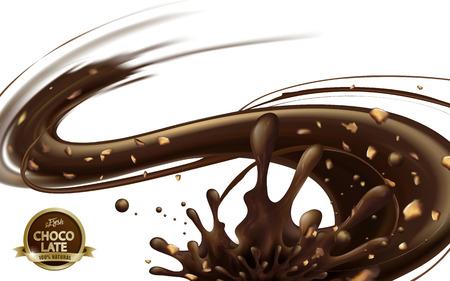 Molho de chocolate fluindo com nozes isoladas no fundo branco em ilustração 3d Foto de archivo - 82893979