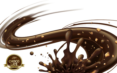 Flowing chocolate sauce with nuts isolated on white background in 3d illustration