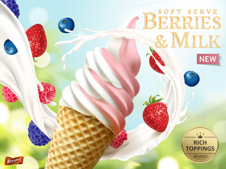 Baies et lait soft serve annonces, modèle rafraîchissant annonces de crème glacée aux fruits avec du lait qui coule et fruits isolés sur fond de bokeh Vecteurs