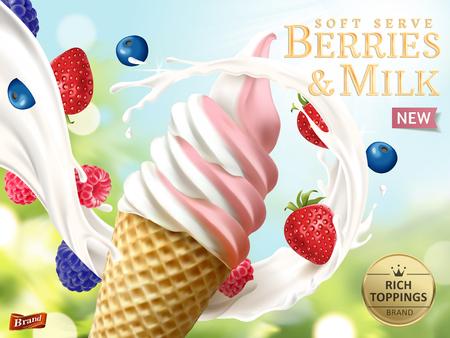 Zachte de bessen en de melk dienen advertenties, het verfrissende de advertentiesmalplaatje van het fruitroomijs met stromende melk en de vruchten isoleerden op bokehachtergrond in 3d illustratie