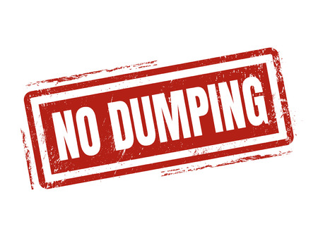 no dumping in red stamp style, stamped on white background