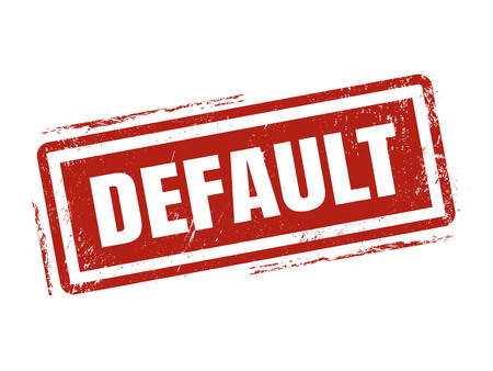 default in red stamp style, stamped on white background Vectores