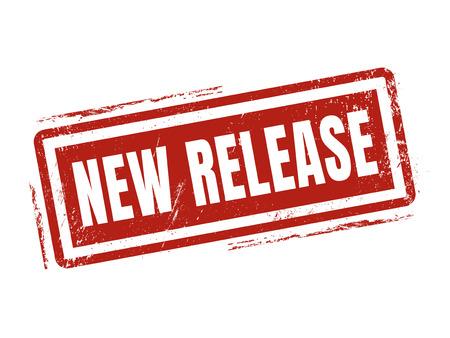 nieuwe release in rode stempelstijl, gestempeld op witte achtergrond Vector Illustratie