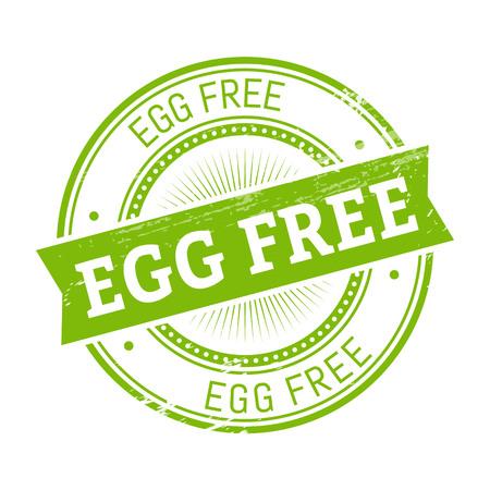 validation: egg free text, green color round stamper illustration Illustration
