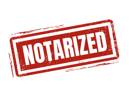 notarized: notarized in red stamp style, stamped on white background