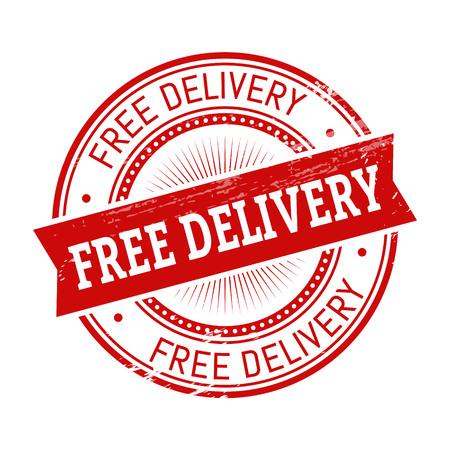 testo di consegna libera, illustrazione stampera a colori rossi