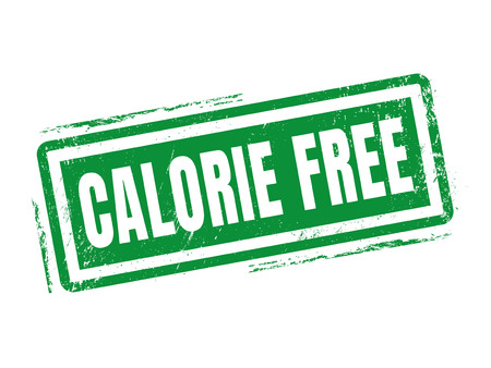 calorie free in green stamp style, stamped on white background