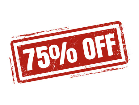 75 percent off in red stamp style, stamped on white background