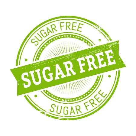 validation: sugar free text, green color round stamper illustration Illustration
