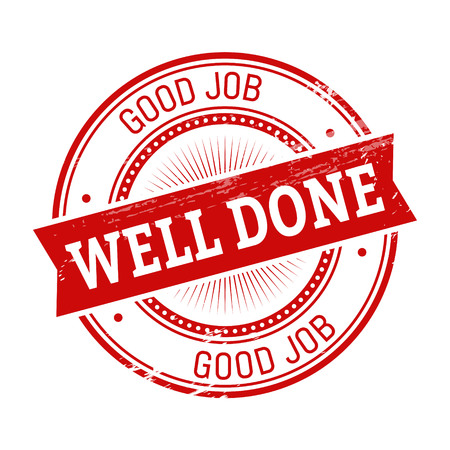 validation: well done text, red color round stamper illustration