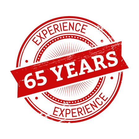 validation: 65 years experience text, red color round stamper illustration