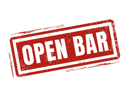 open bar in red stamp style, stamped on white background Illustration