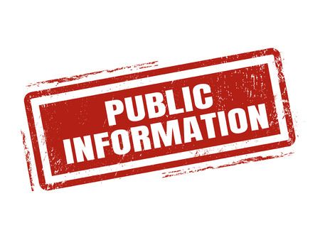 public information in red stamp style, stamped on white background