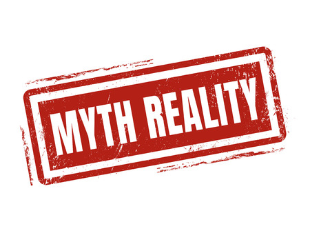myth reality in red stamp style, stamped on white background