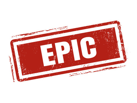 epic in red stamp style, stamped on white background Illustration