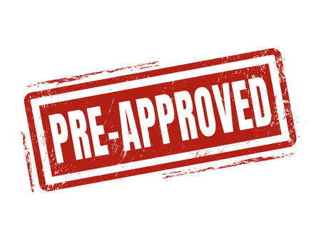 pre-approved in red stamp style, stamped on white background