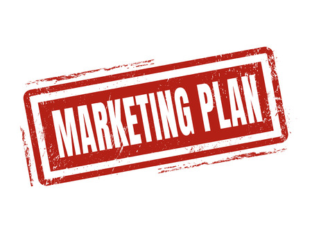 marketing plan in red stamp style, stamped on white background Illustration
