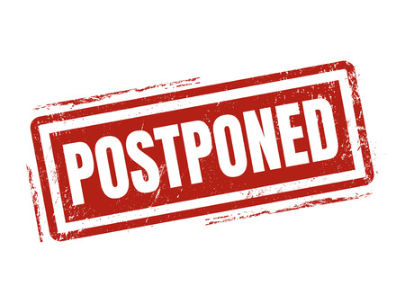 postponed in red stamp style, stamped on white background