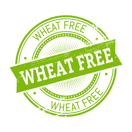 wheat free text, green color round stamper illustration