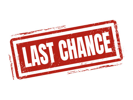 last chance in red stamp style, stamped on white background