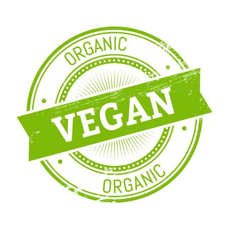 vegan text, green color round stamper illustration Illustration