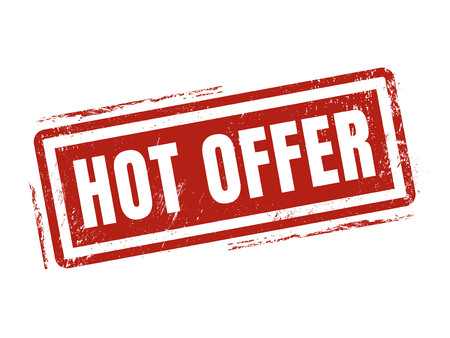 hot offer in red stamp style, stamped on white background