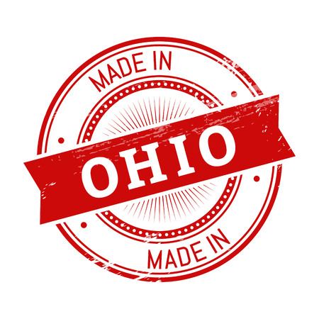 validation: made in Ohio text, red color round stamper illustration