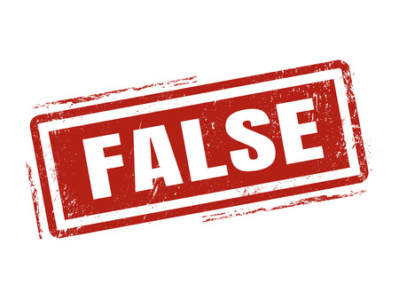 false in red stamp style, stamped on white background
