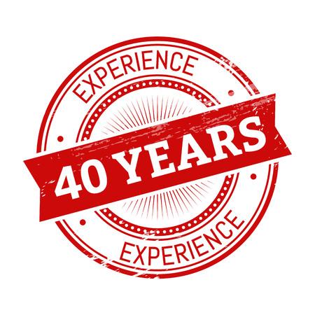 40 년 경험 텍스트, 붉은 색 라운드 stamper 그림