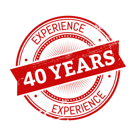40 years experience text, red color round stamper illustration