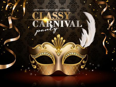 Manifesto di classe del partito di carnevale, maschera dorata elegante con le decorazioni della piuma e del diamante isolate su fondo scuro nell'illustrazione 3d Archivio Fotografico - 82894962