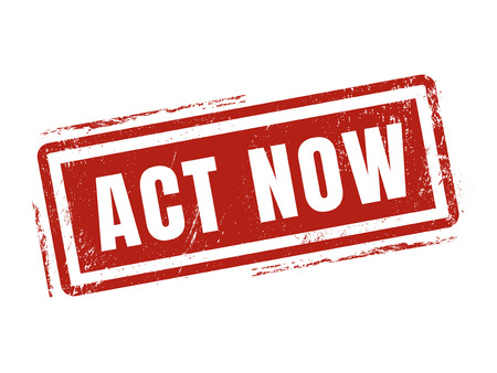 act now in red stamp style, stamped on white background