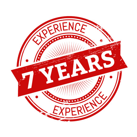 validation: 7 years experience text, red color round stamper illustration