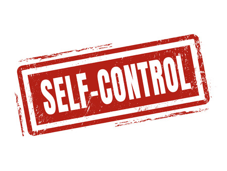 self-control in red stamp style, stamped on white background