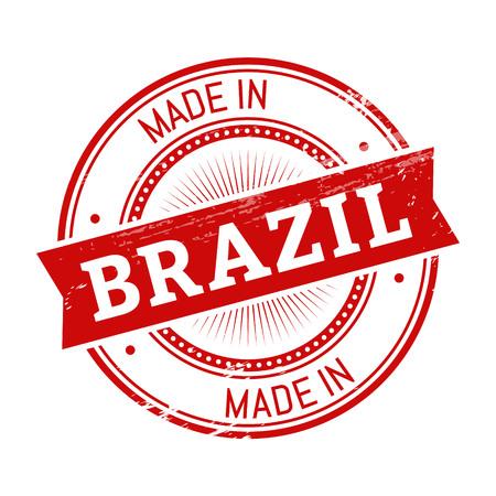 validation: made in Brazil text, red color round stamper illustration
