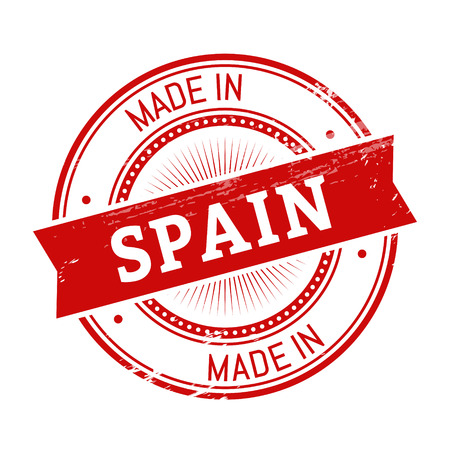 validation: made in Spain text, red color round stamper illustration