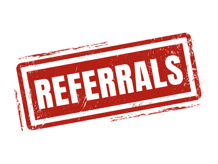 referrals in red stamp style, stamped on white background