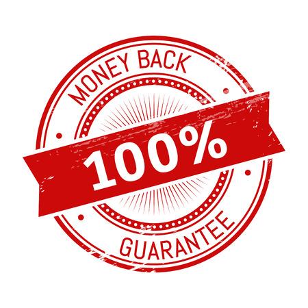 validation: money back text, red color round stamper illustration